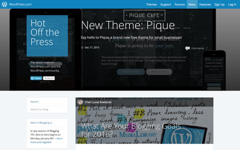 Screenshot of Blog wordpress.com - WordPress.com News - captured Dec. 18, 2015
