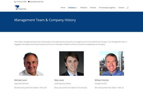 Screenshot of Team Page titansteel.com - Management | Titan Steel - captured Oct. 18, 2018