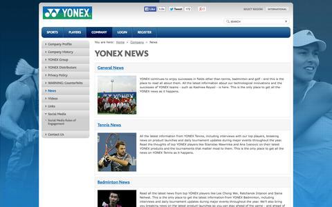Screenshot of Press Page yonex.com - YONEX - world leader in Golf, Tennis and Badminton - captured Nov. 4, 2014