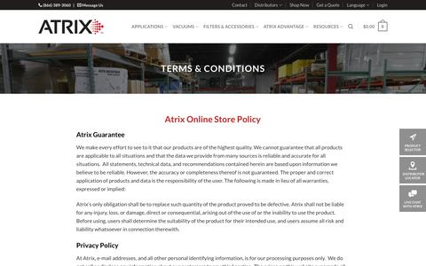 Screenshot of Privacy Page Terms Page atrix.com - Atrix: Privacy Policy - Terms & Conditions - captured Oct. 4, 2018