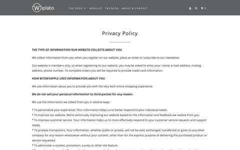 Screenshot of Privacy Page wiplabs.com - Privacy Policy - Wiplabs - captured Oct. 18, 2018