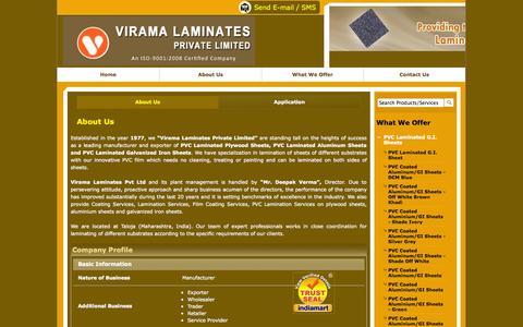 Screenshot of About Page viramalaminates.com - Coating Services, Lamination Services, Film Coating Services, PVC Lamination Services, India - captured Oct. 26, 2014
