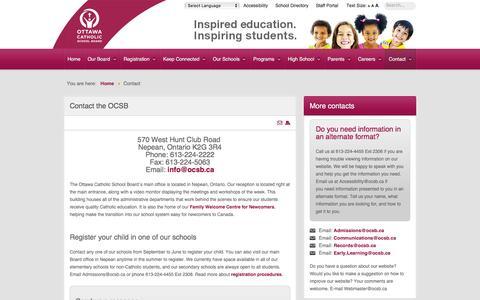 Screenshot of Contact Page ocsb.ca - Contact - Ottawa Catholic School Board - captured Dec. 4, 2016