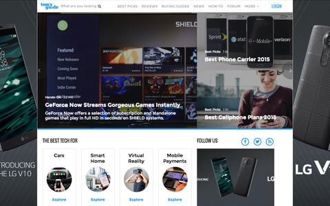 Screenshot of Home Page tomsguide.com - Tom's Guide: Tech Product Reviews, Top Picks and How To - captured Oct. 1, 2015