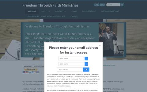 Screenshot of Home Page ftfm.org - Freedom Through Faith Ministries - Welcome - captured Oct. 6, 2014