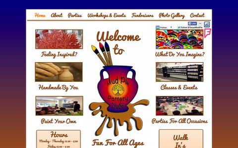 Screenshot of Home Page mudpiepotterystudio.com - Home - captured Oct. 9, 2014