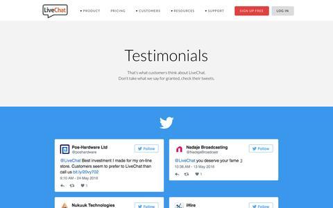 Screenshot of Testimonials Page livechatinc.com - Testimonials | LiveChat - captured June 1, 2016