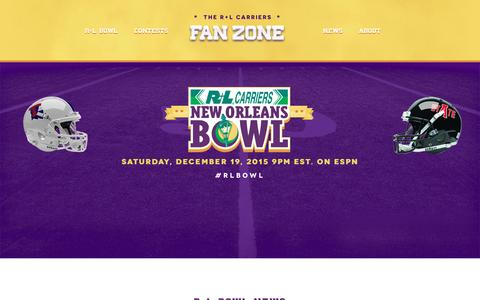 Screenshot of Home Page rlbowl.com - New Orleans Bowl - R+L Carriers | College Bowl Games - captured Feb. 16, 2016
