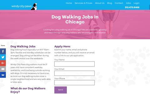 Screenshot of Jobs Page windycitypaws.com - Dog Walking Jobs, Chicago, IL - Windy City Paws - captured Nov. 30, 2016