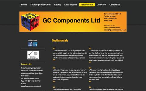 Screenshot of Testimonials Page gc-components.com - Testimonials - GC Components Ltd - captured Oct. 1, 2014
