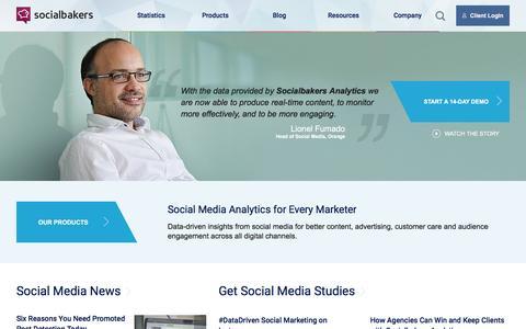 Screenshot of Home Page socialbakers.com - Social Media Marketing, Statistics & Monitoring Tools | Socialbakers - captured Dec. 7, 2015