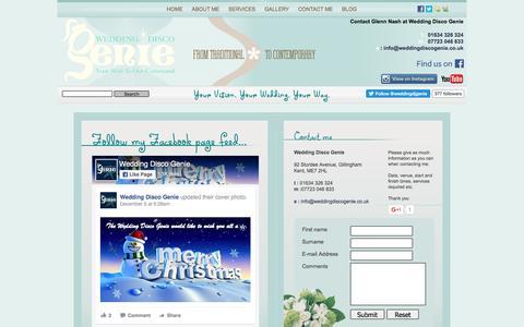 Screenshot of Contact Page weddingdiscogenie.co.uk - Contact Wedding Disco Genie :: Glenn Nash - captured Dec. 14, 2016