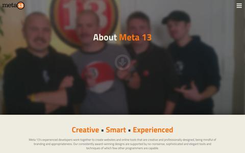 Screenshot of About Page meta13.com - About Meta 13 Interactive - Premier Website Development Agency - captured Oct. 27, 2014