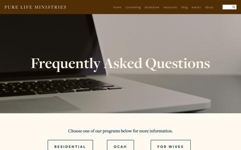 Screenshot of FAQ Page purelifeministries.org - FAQs — Pure Life Ministries - captured July 24, 2018