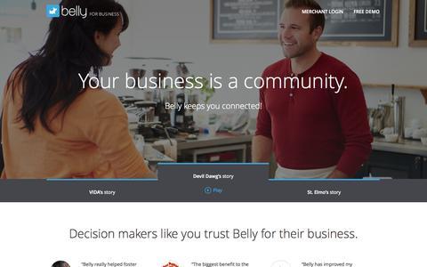 Screenshot of Testimonials Page bellycard.com - Belly: Merchant Stories - captured Oct. 30, 2014