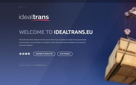 Screenshot of Home Page idealtrans.eu - IdealTrans | Perfect service for your Cargo, Trucks and Logistics. Coming soon. - captured Sept. 30, 2014