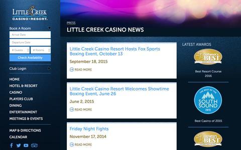 Screenshot of Press Page little-creek.com - Little Creek Casino News - Press Releases - captured Jan. 30, 2016