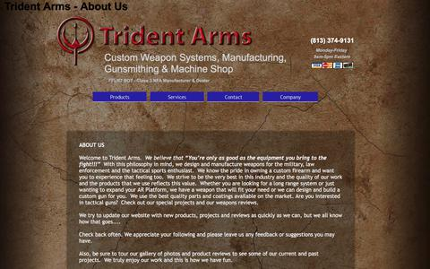 Screenshot of About Page tridentarms.us - Trident Arms - About Us - captured Nov. 9, 2017