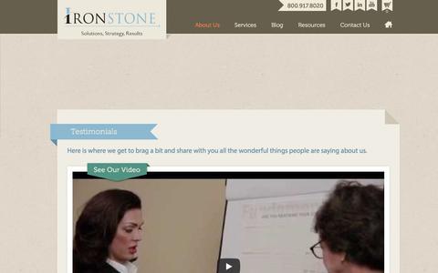 Screenshot of Testimonials Page ironstonehq.com - Testimonials | Ironstone - captured Sept. 20, 2018