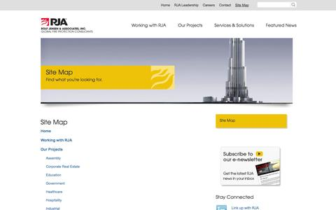 Screenshot of Site Map Page rjainc.com - Site Map |RJA - captured Oct. 6, 2014