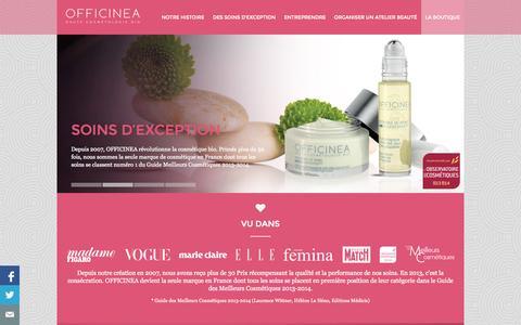 Screenshot of Home Page officinea.fr - Accueil | OFFICINEA Haute Cosmétologie Bio - captured Sept. 30, 2014
