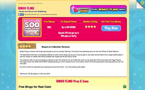 Screenshot of ohmybingo.com - Bingo Fling | Earn Free Spins on Slots | Spin The Wheel - captured March 19, 2016