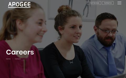Screenshot of Jobs Page apogeecorp.com - Careers | Apogee Corporation - captured June 26, 2019