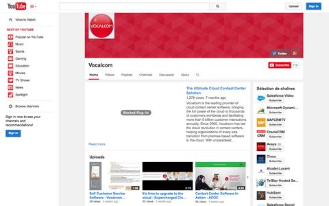 Screenshot of YouTube Page youtube.com - Vocalcom  - YouTube - captured Nov. 4, 2014