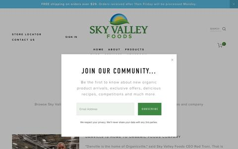 Screenshot of Press Page skyvalleyfoods.com - NEWSROOM — Sky Valley Foods - captured Oct. 20, 2018