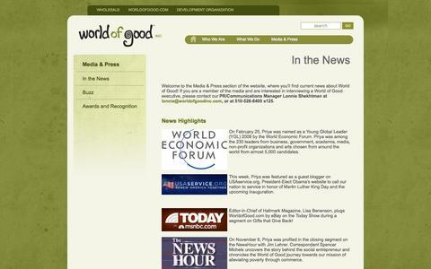 Screenshot of Press Page worldofgoodinc.com - World of Good: Press - captured Sept. 17, 2014