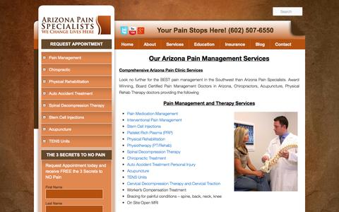 Screenshot of Services Page preferredpaincenter.com - Chandler Pain Clinic, Glendale Pain Clinic, Scottsdale Pain Clinic - captured Sept. 30, 2014