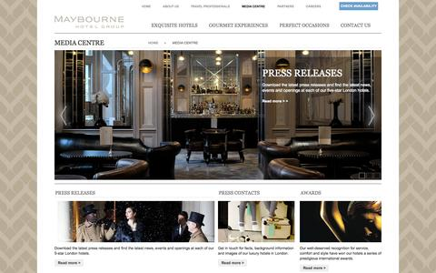 Screenshot of Press Page maybourne.com - Maybourne Hotel Group - Press Releases, Awards & Contacts - captured Oct. 27, 2014