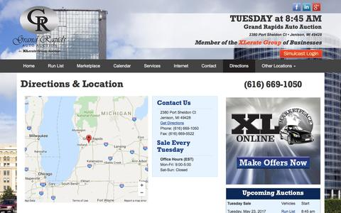 Screenshot of Maps & Directions Page grandrapidsautoauction.com - Location and Directions | Grand Rapids Auto Auction - captured May 22, 2017