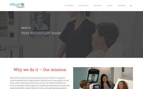 Screenshot of About Page intouchhealth.com - About Us: Meet Your Partner In The Healthcare Revolution - captured June 3, 2018
