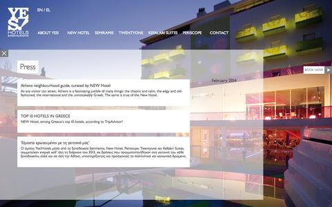 Screenshot of Press Page yeshotels.gr - Press | Yes Hotels - captured Oct. 3, 2014