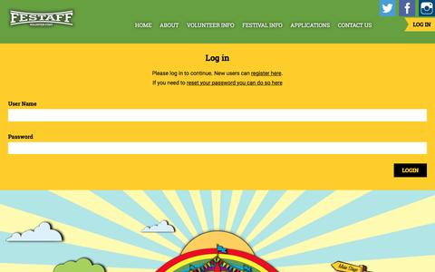 Screenshot of Login Page festaff.co.uk - Log In | Festaff - captured Aug. 3, 2016