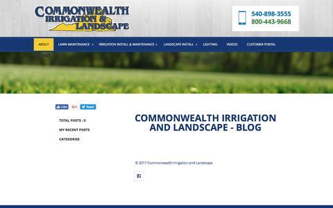 Screenshot of Blog commonwealthirrigation.com - Lawn Sprinklers Caroline Va - Commonwealth Irrigation and Landscape - captured April 13, 2017
