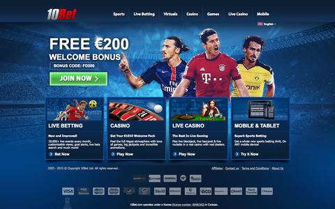 Screenshot of Home Page 10bet.com - Online Sports Betting at 10Bet - Best live odds, offers and tips - captured Oct. 1, 2015
