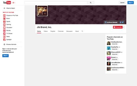 Screenshot of YouTube Page youtube.com - Jib Brand, Inc.  - YouTube - captured Oct. 23, 2014