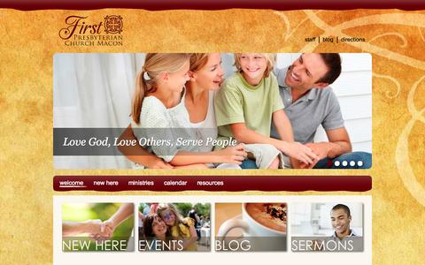 Screenshot of Home Page fpcmacon.org - Welcome - First Presbyterian Church - captured Oct. 6, 2014