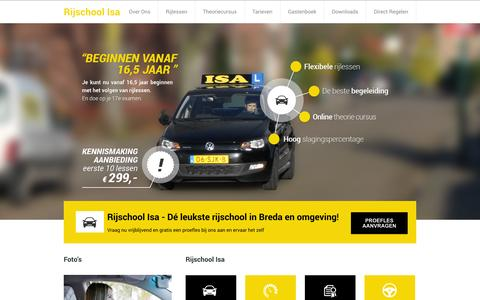 Screenshot of Home Page rijschool-isa.nl - Rijschool Isa - Rijschool in Breda e.o - captured Oct. 1, 2014