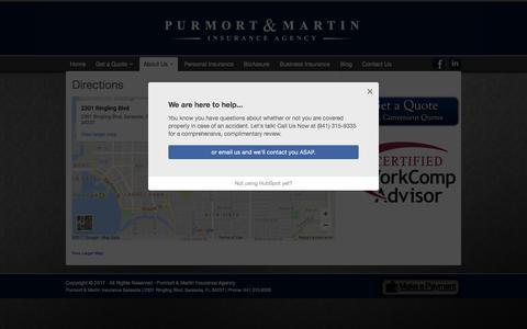 Screenshot of Maps & Directions Page purmort.com - Directions - Purmort & Martin Insurance Agency - captured Sept. 6, 2017
