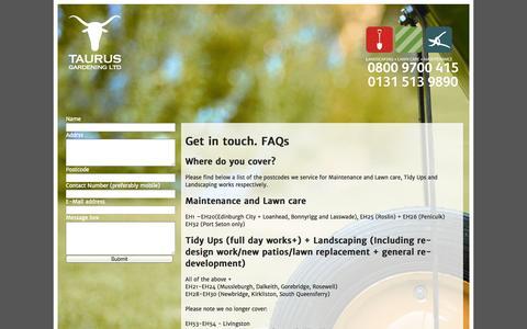 Screenshot of Contact Page taurusgardening.com - Contact us - captured Oct. 26, 2014