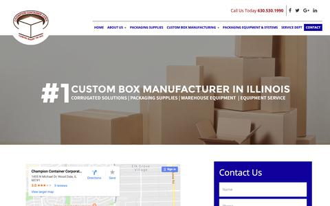 Screenshot of Contact Page champion-container.com captured Sept. 27, 2018