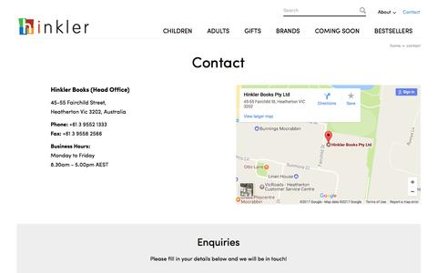 Screenshot of Contact Page hinkler.com.au - Contact Hinkler for Quality Books in Australia - captured Jan. 2, 2017