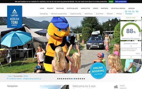 Screenshot of Home Page camping-seeblick.tirol - Welcome to 5 star Camping at lake Reintaler in Kramsach, Tyrol - Camping Seeblick Toni ***** - Reintaler See - Kramsach - Tirol - captured June 24, 2018