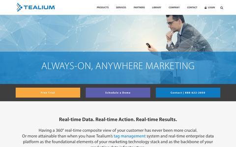 Screenshot of Landing Page tealium.com - Tealium | Tag Management and Real-time Customer Data - captured July 3, 2015