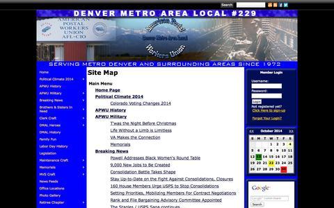 Screenshot of Site Map Page denverapwu.com - Denver Metro Area Local APWU - captured Oct. 4, 2014