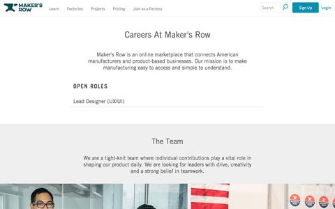 Screenshot of Jobs Page makersrow.com - Jobs | Maker's Row - Manufacturing, Sourcing, Production Education - captured Feb. 28, 2017