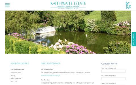 Screenshot of Contact Page raithwaiteestate.com - Contact | The Raithwaite Estate | Hotels in Whitby | Luxury Hotels Yorkshire - captured Oct. 12, 2017